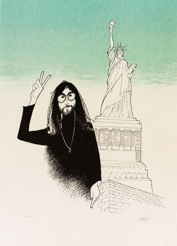 Al Hirschfeld master of line new yorker cartoon celebrity art John Lennon peace sign statue of liberty