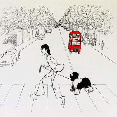Al Hirschfeld master of line new yorker cartoon celebrity art Paul McCartney Abbey Road sheep dog double decker bus London