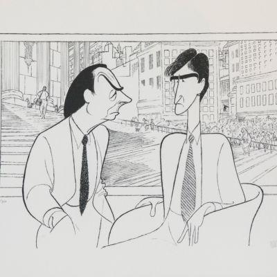 Al Hirschfeld master of line new yorker cartoon celebrity art Law and Order Sam Waterson Jerry Orbach