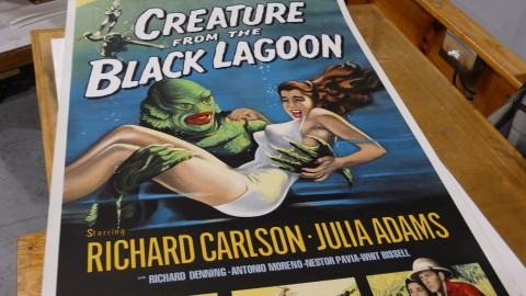 Creature from the Black Lagoon lithograph print at an angle