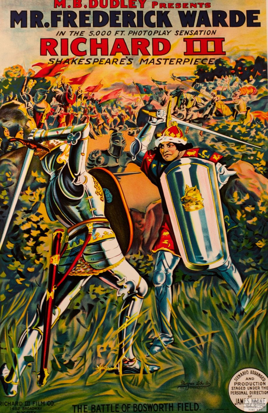 fine art lithograph Richard III frederick Ward classic movie poster vintage movie poster fine art lithograph one-sheet golden age of film