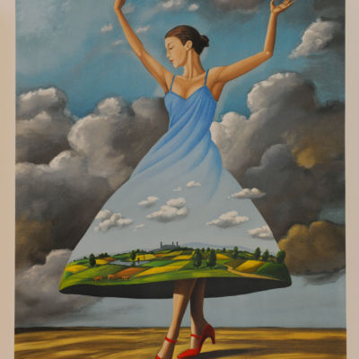 Rafal Olbinski Polish Poster surrealist surrealism dreamscape red shoes fine art lithograph dancing