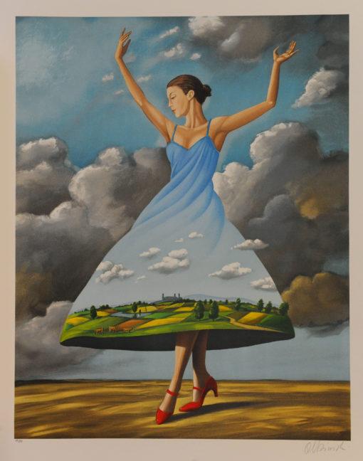 Rafal Olbinski Polish Poster surrealist surrealism dreamscape red shoes fine art lithograph dancing