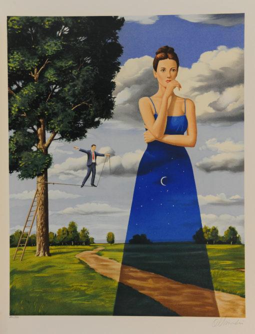 Rafal Olbinski Polish Poster surrealist surrealism dreamscape woman moon tightrope