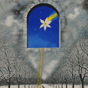 Rafal Olbinski Polish Poster surrealist surrealism dreamscape snow ladder trees window