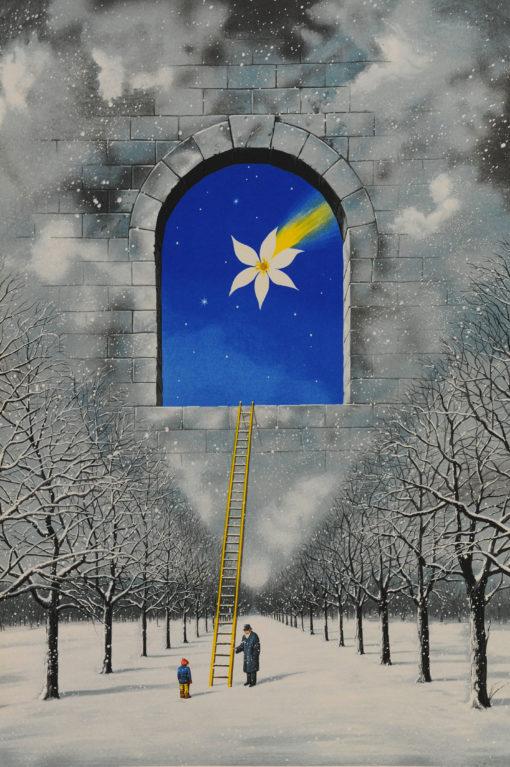 Rafal Olbinski Polish Poster surrealist surrealism dreamscape snow ladder trees window