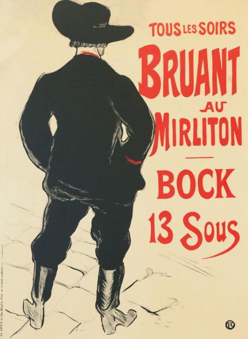 Bruant au Mirliton, Henri de Toulouse-Lautrec black boots paris nightlife belle epoque cabaret vintage poster art