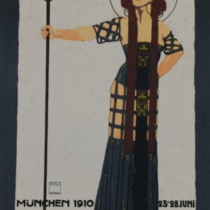 Munich art poster art deco woman holding staff 1910