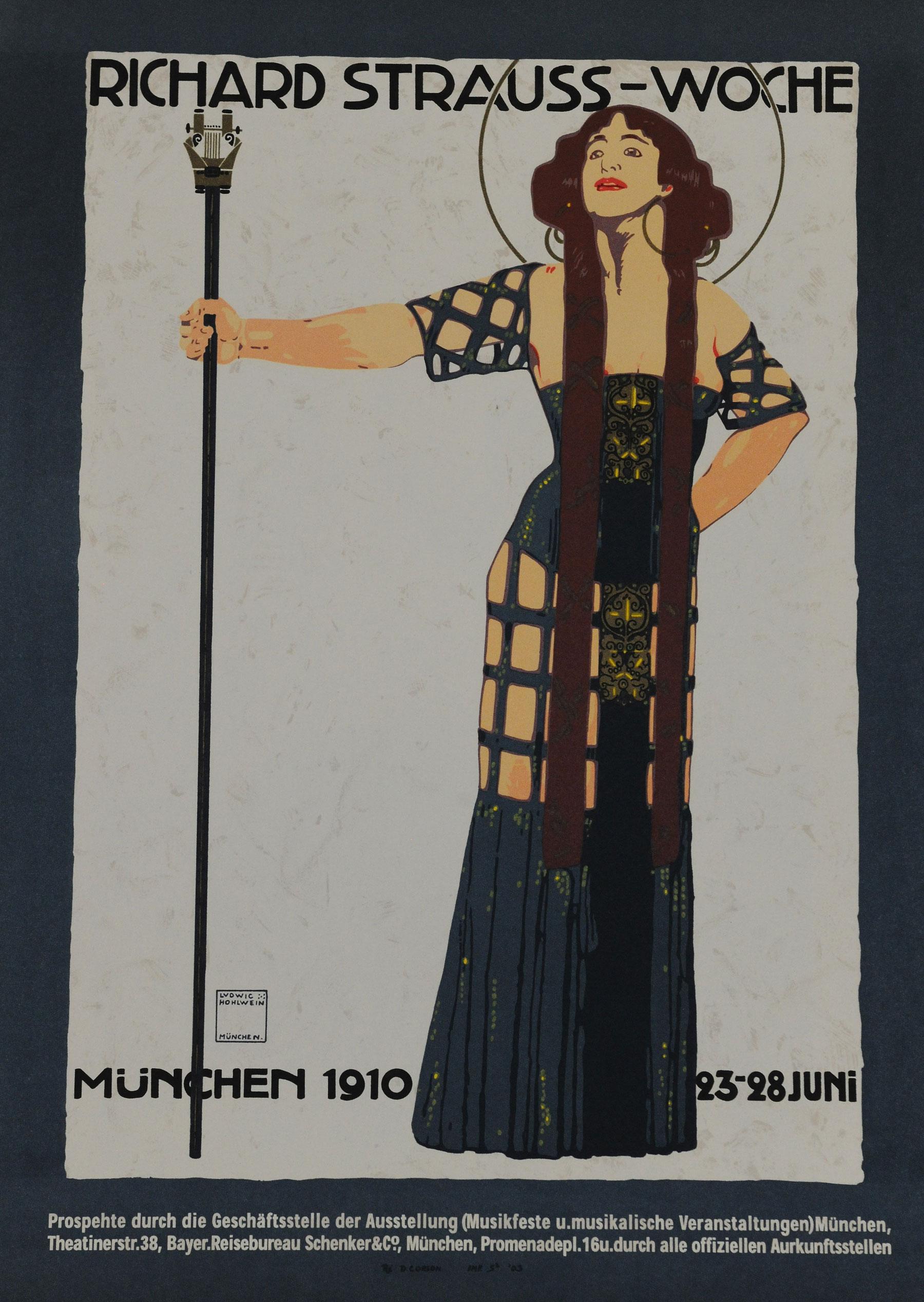 Munich art poster art deco woman holding staff 1910