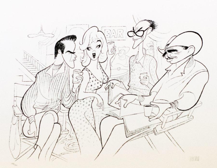 Al Hirschfeld master of line new yorker cartoon celebrity art The Misfits Marilyn Monroe Clark Gable Arthur Miller Montgomery Cliff
