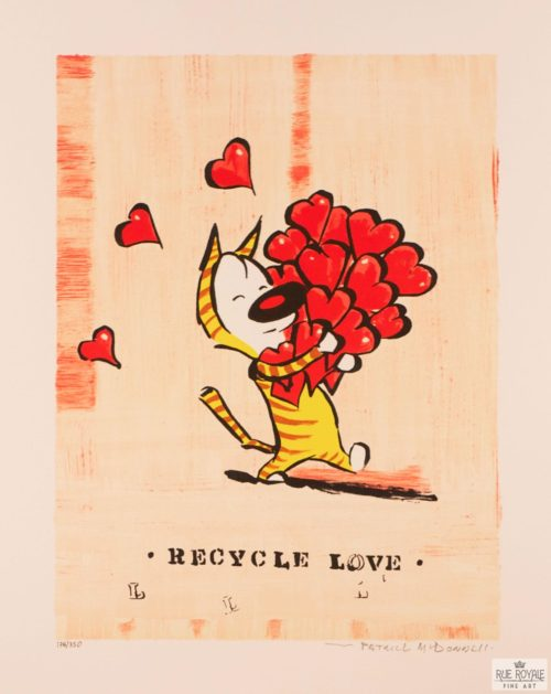 comic strip art Patrick McDonnell recycle love fine art lithograph mutts