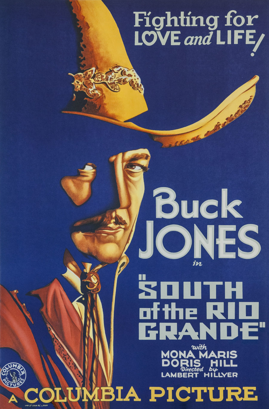 Buck Jones South of the Rio Grand classic movie poster vintage movie poster fine art lithograph one-sheet golden age of film mona maris doris hill lambert hillier
