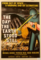 vintage movie poster michael rennie Patricia Neal hugh marlowe the day the earth stood still classic movie poster vintage movie poster fine art lithograph one-sheet golden age of film