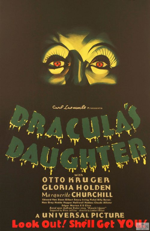 Dracula's Daughter Otto Kruger Carl Laemmle Scary movie poster Classic movie poster vintage movie poster fine art film vintage poster