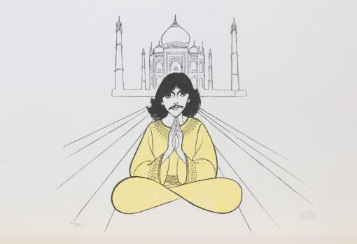 Al Hirschfeld master of line new yorker cartoon celebrity art George Harrison Taj Mahal infinity sign