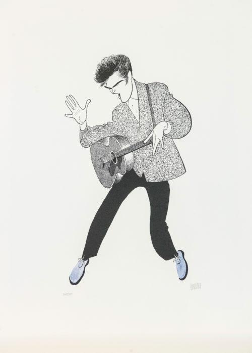 Al Hirschfeld master of line new yorker cartoon celebrity art Elvis Presley The King Rock and Roll guitar blue suede shoes