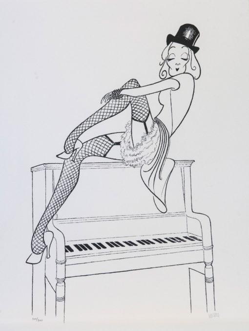 Al Hirschfeld master of line new yorker cartoon celebrity art Marlene Dietrich Lily Marlene Piano Chanteuse