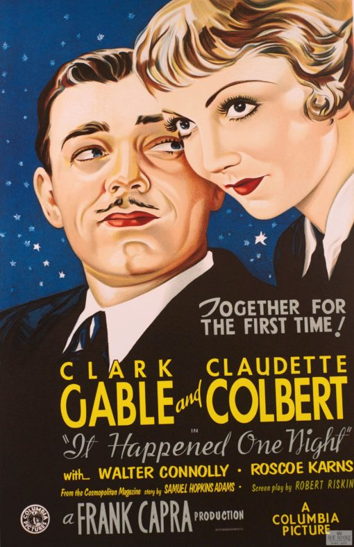 Frank Capra Columbia Pictures Clark Gable Claudette Colbert It Happened One Night classic movie poster vintage movie poster fine art lithograph one-sheet golden age of film