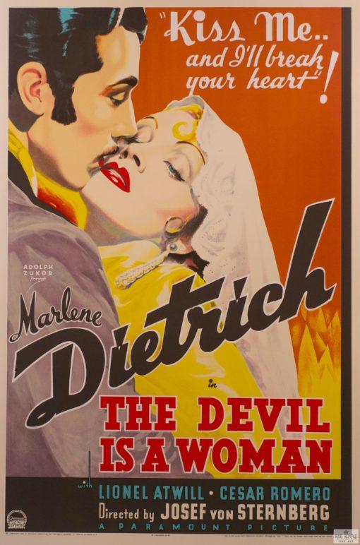 Marlene Dietrich Cesar Romero Josef von Sternberg vintage movie poster fine art lithograph