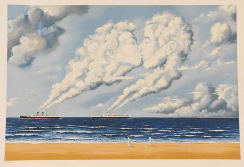 Rafal Olbinski Polish Poster surrealist surrealism dreamscape oceanliner beach