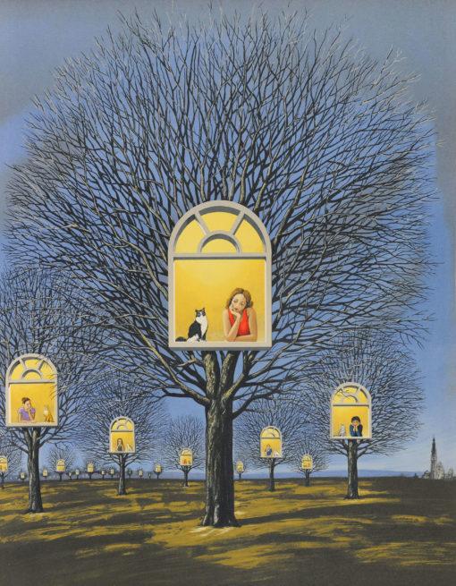 Rafal Olbinski Polish Poster surrealist surrealism fine art print 0dreamscape trees window