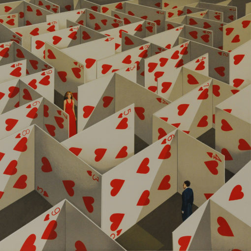 Rafal Olbinski Polish Poster surrealist surrealism dreamscape cards red hearts maze
