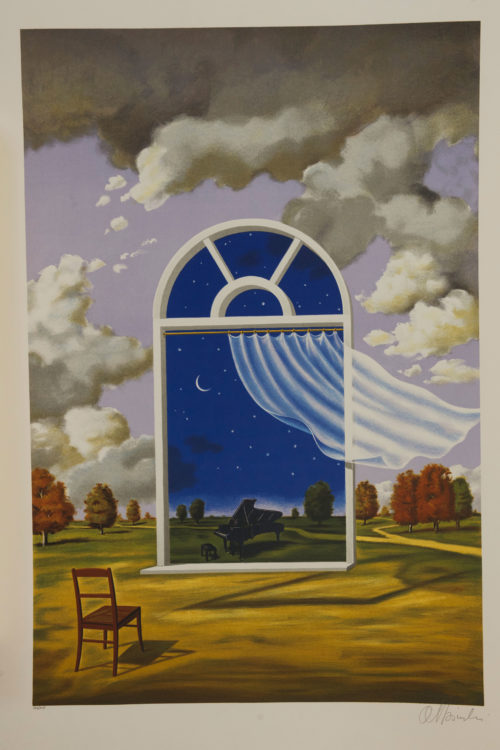 Rafal Olbinski Polish Poster surrealist surrealism dreamscape window piano chair