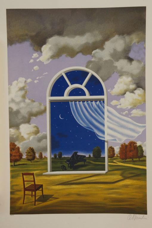 Rafal Olbinski Polish Poster surrealist surrealism dreamscape window piano chair