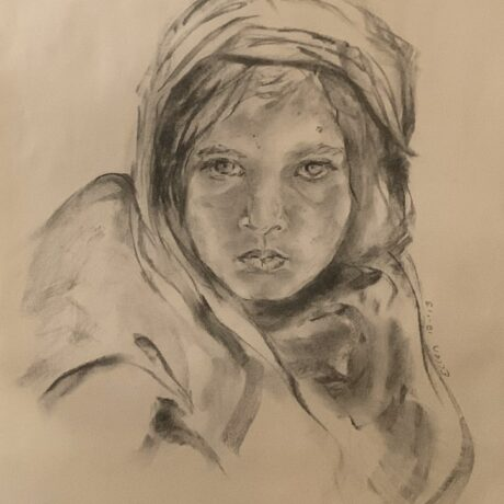 Girl with Blue Eyes - Charcoal on paper