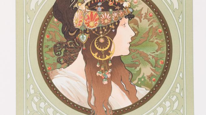 Byzantine Head: Brunette, Alphonse Mucha