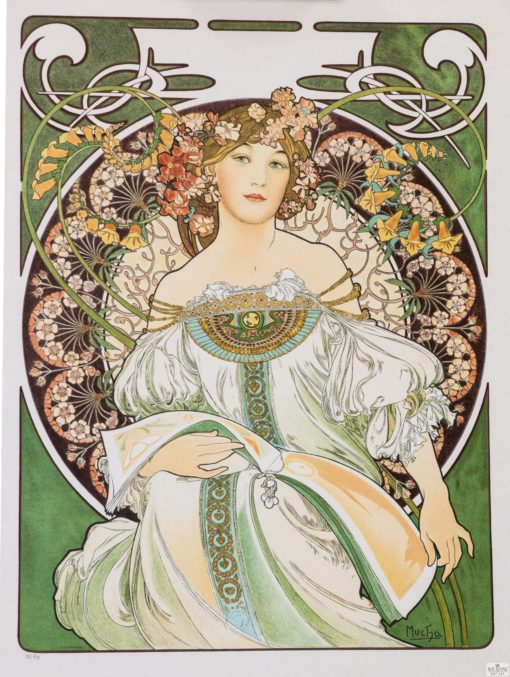 mucha calendar bland champenois girl bohemian dress flower garland