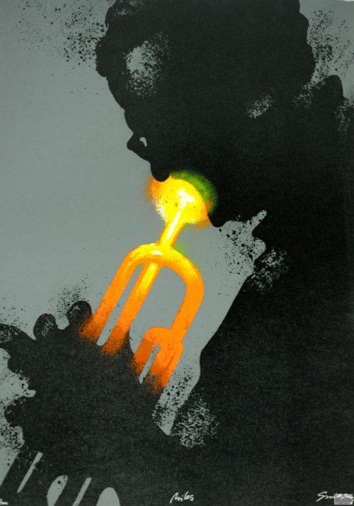 fine art lithograph print Waldemar Swierzy Miles Davis jazz trumpet